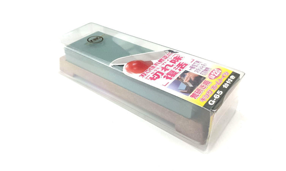 KING G-65 220 Grit Japanese Whetstone Knife Sharpener with Base