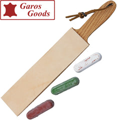 Garos Red Oak Double-Sided Leather Paddle Strop with Compound - Made in USA