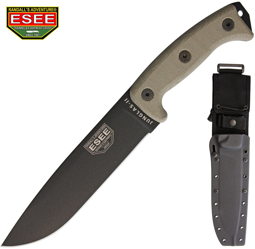 "ESEE JUNGLAS II 8.375"" Survival Knife With Kydex Sheath and MOLLE Back"