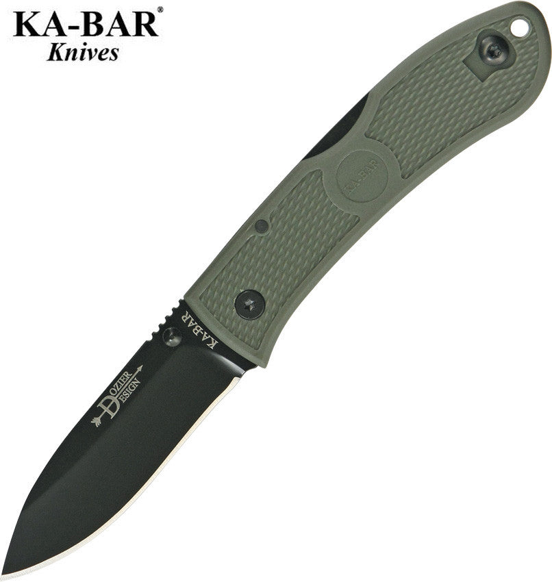 "KA-BAR Dozier 3"" AUS8A Folding Hunter Knife Field Green 03-4062 FG"