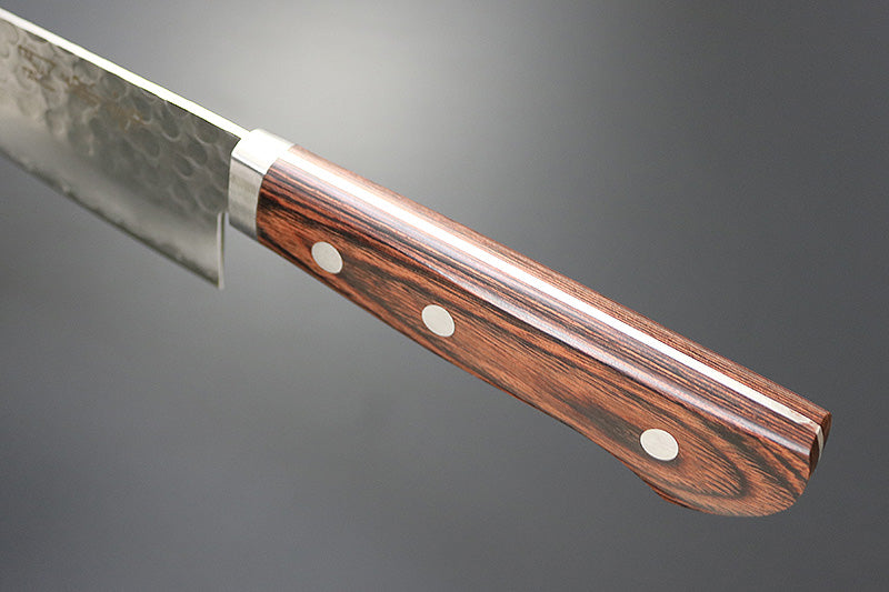 "Kanetsune Tsuchime Santoku 6.49"" VG-1/SUS410 San-Mai Mahogany Kitchen Knife - Made in Japan KC-942"