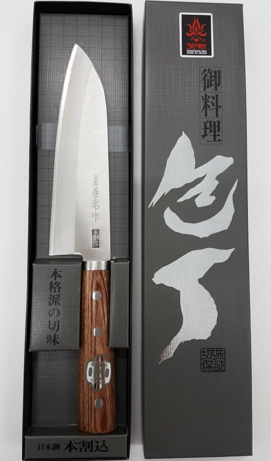 "Kanetsune Meisho Santoku 6.49"" Takefu Shiro-2/SUS410 San-Mai Kitchen Knife - Made in Japan KC148"