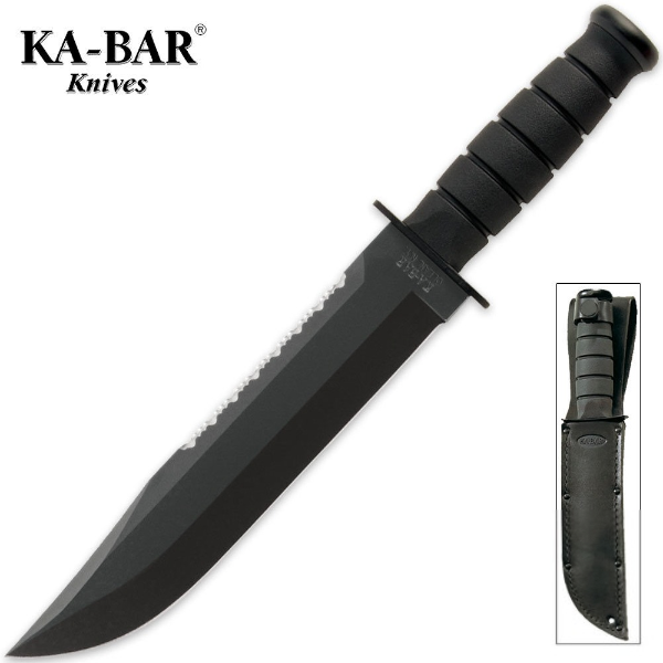"KA-BAR Big Brother 9.375"" Black Fixed Blade Knife with Top Serrated Edge and Leather Sheath 2211"