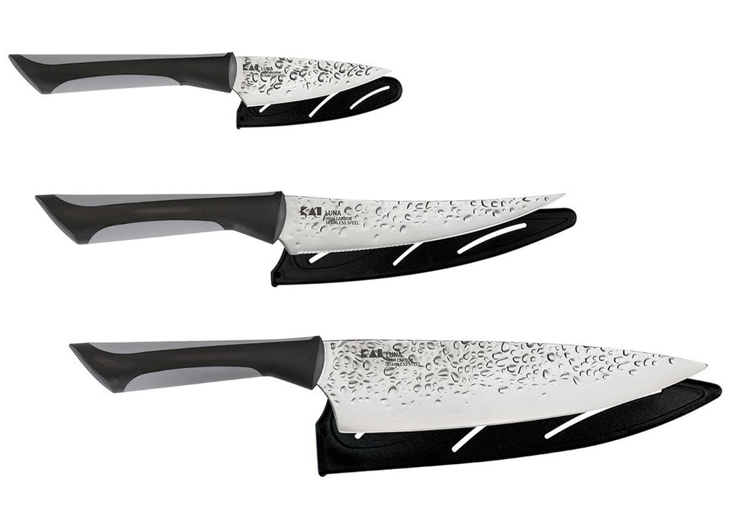 KAI Luna 3 Piece Essential Kitchen Knife Set with Hammered Finish and Sheath ABS0370
