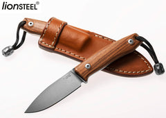 "LionSteel M1 2.91"" M390 Santos Wood Fixed Blade Knife with Leather Sheath and Titanium Bead"