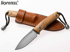 "LionSteel M1 2.91"" M390 Olive Wood Fixed Blade Knife with Leather Sheath and Titanium Bead"