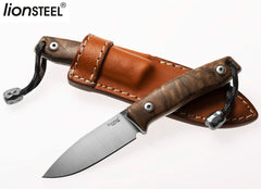 "LionSteel M1 2.91"" M390 Walnut Wood Fixed Blade Knife with Leather Sheath and Titanium Bead"
