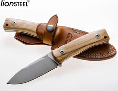 "LionSteel M4 3.74"" M390 Olive Wood Fixed Blade Bushcraft Knife with Leather Sheath"