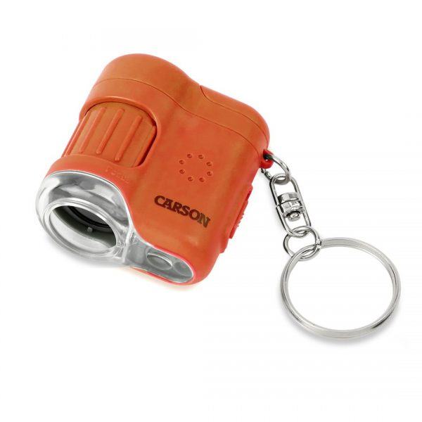 Carson MicroMini 20x Pocket Microscope with LED Flashlight and UV Light - Orange MM280O