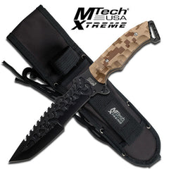 Mtech Xtreme Tactical Fixed Blade Knife - Desert Camo Handle MX-8062DM