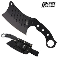 Mtech Tactical Cleaver Black G10 Full-Tang Knife with Nylon Sheath MX-8097