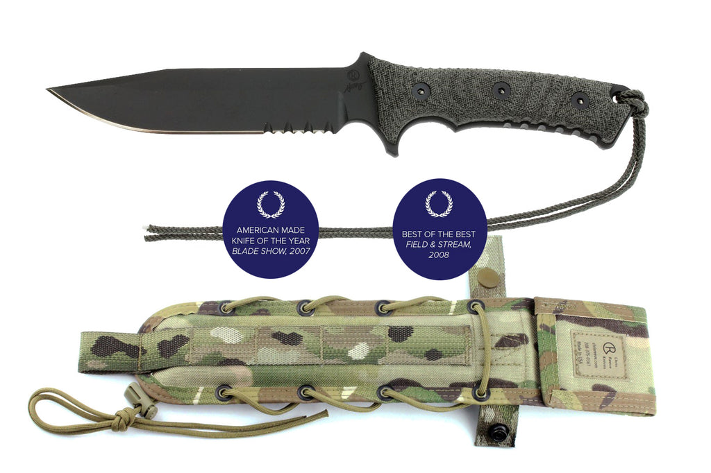 "Chris Reeve Pacific 6"" S35VN Serrated Fixed Blade Knife with Camo Nylon Sheath"