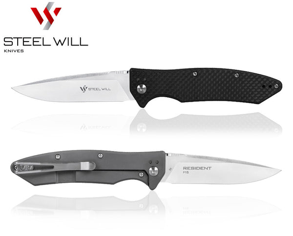 "Steel Will Resident F15-91 3.6"" D2 Titanium Carbon Fiber Folding Knife"