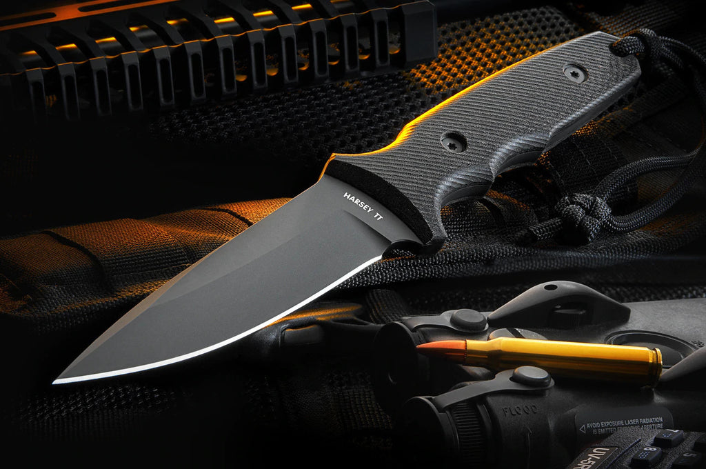 "Spartan Blades Harsey TT Tactical Trout 4.5"" CPM S35VN Elite DLC Black Fixed Blade Knife with Black MOLLE Sheath"
