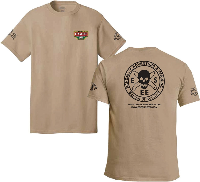 ESEE Brown T-Shirt with Camp-Lore and Izula Logos - Small