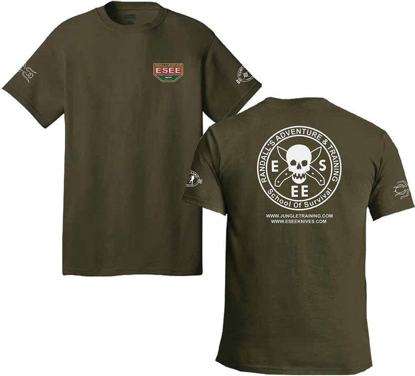 ESEE Fatigue Green T-Shirt with Camp-Lore and Izula Logos - Medium