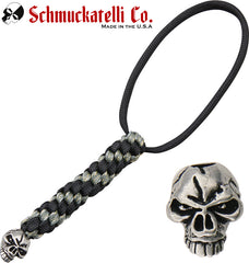 Schmuckatelli Emerson Skull Lanyard with Black/Digi Camo Cord and Pewter Bead