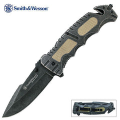 "Smith & Wesson Border Guard Large 4.3"" Flipper Folding Knife with Belt Cutter and Glass Breaker SWBG7"
