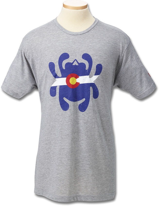 Spyderco Bug Logo Colorado Flag T-Shirt Gray - Small