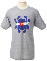 Spyderco Bug Logo Colorado Flag T-Shirt Gray - Medium