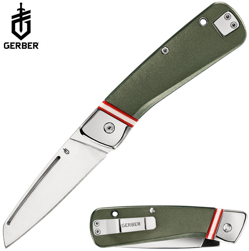 "Gerber Straightlace 2.9"" Mirror-Polished Slipjoint Folding Knife Green"