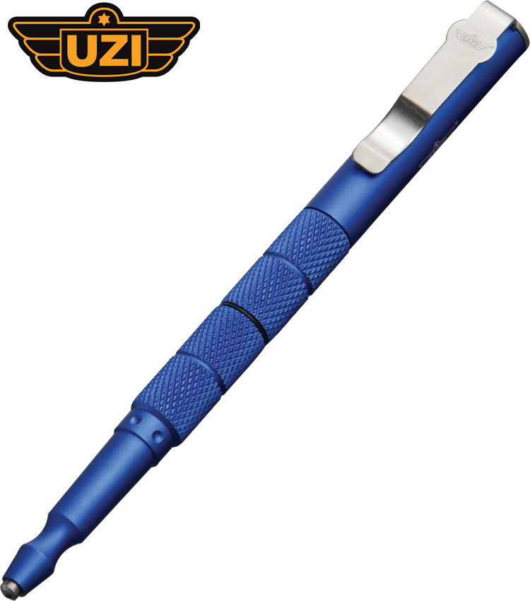 "Uzi 6.25"" Blue Aluminium Tactical Pen with Glass Breaker TACPEN5-BL"