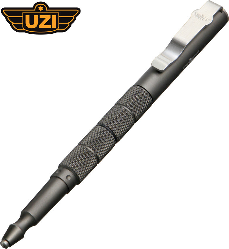"Uzi 6.25"" Gray Aluminium Tactical Pen with Glass Breaker TACPEN5-GRY"