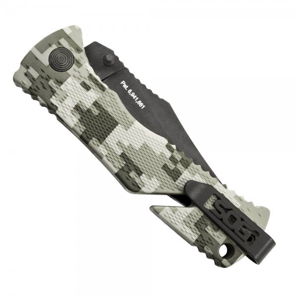 "SOG Trident 3.75"" AUS8 Digital Camo A/O Folding Knife with Belt Cutter TF10"