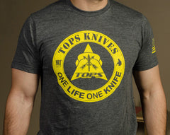 "TOPS Knives ""One Life One Knife"" T-Shirt Dark Heather Gray - Medium"
