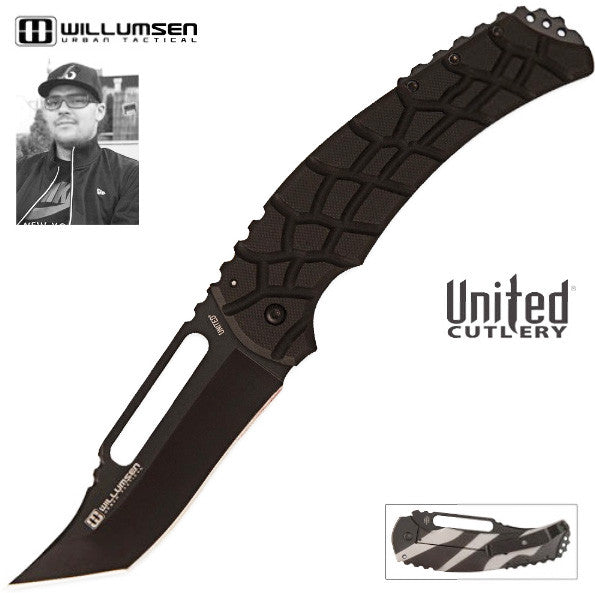 United Willumsen Urban Tactical Blondie Large Framelock Pocket Knife Black UC2870