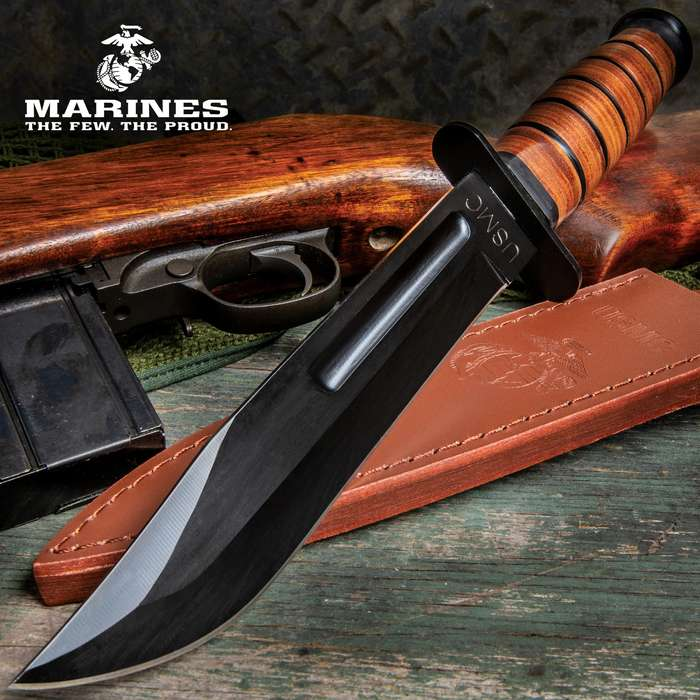 "United USMC 7"" Combat Fixed Blade Knife with Leather Sheath UC3092"