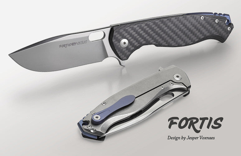 "Viper Fortis 3.5"" M390 Satin Folding Knife with Carbon Fiber and Titanium Handle - Jesper Voxnaes Design - V5950FC"