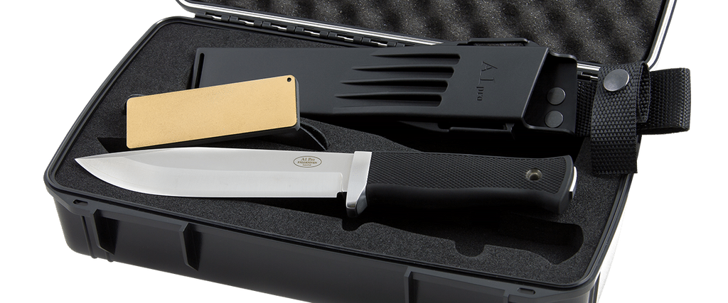 "Fallkniven A1pro Premium Package 6.3"" Lam.CoS Survival Knife with Zytel Sheath, Waterproof Box, and Whetstone"