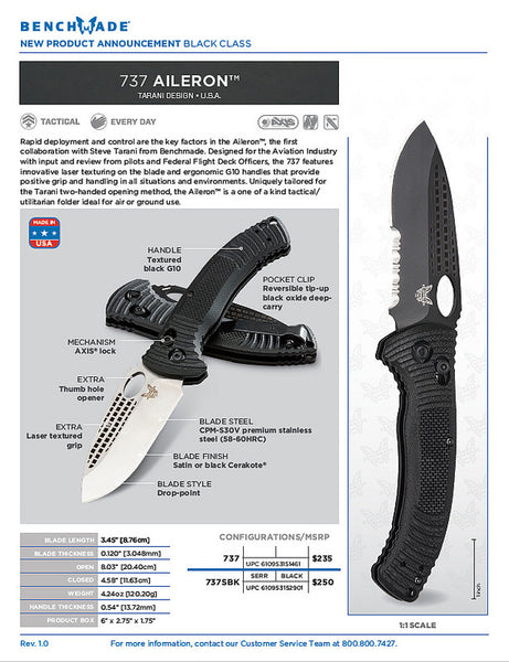 "Benchmade 737 Aileron 3.45"" CPM-S30V Satin Folding Knife G10 Handle"