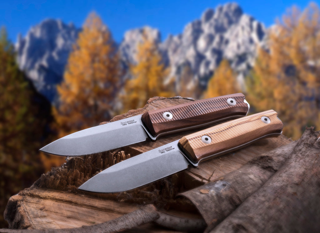 "LionSteel B40 Bushcraft 3.86"" Sleipner Olive Wood Fixed Blade Knife with Leather Sheath"