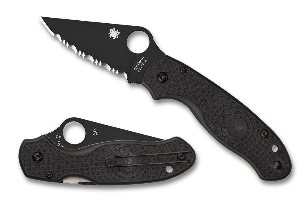 "Spyderco Para 3 Lightweight Black DLC 2.92"" CTS BD1N Serrated Folding Knife C223SBBK"
