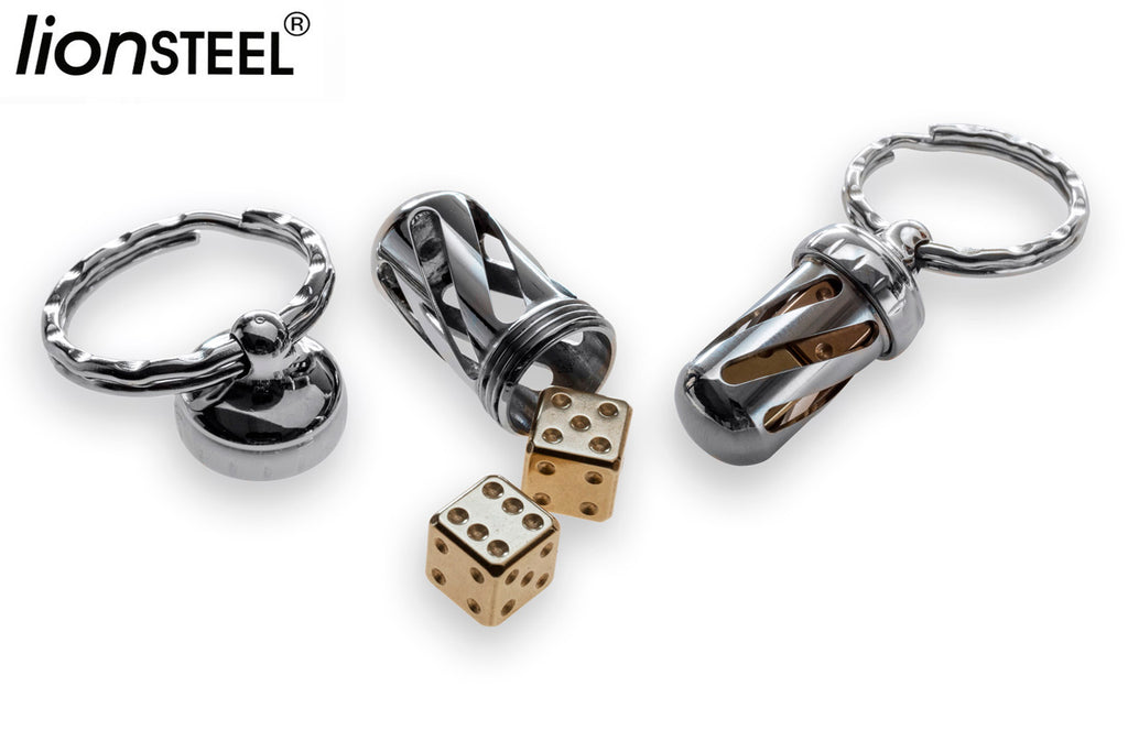 LionSteel Acorn Set of 2 Brass Dice with Keychain Pendant DD-OT