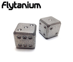 Flytanium Cuboid Large Titanium D6 Dice Set (2) Stonewash Finish