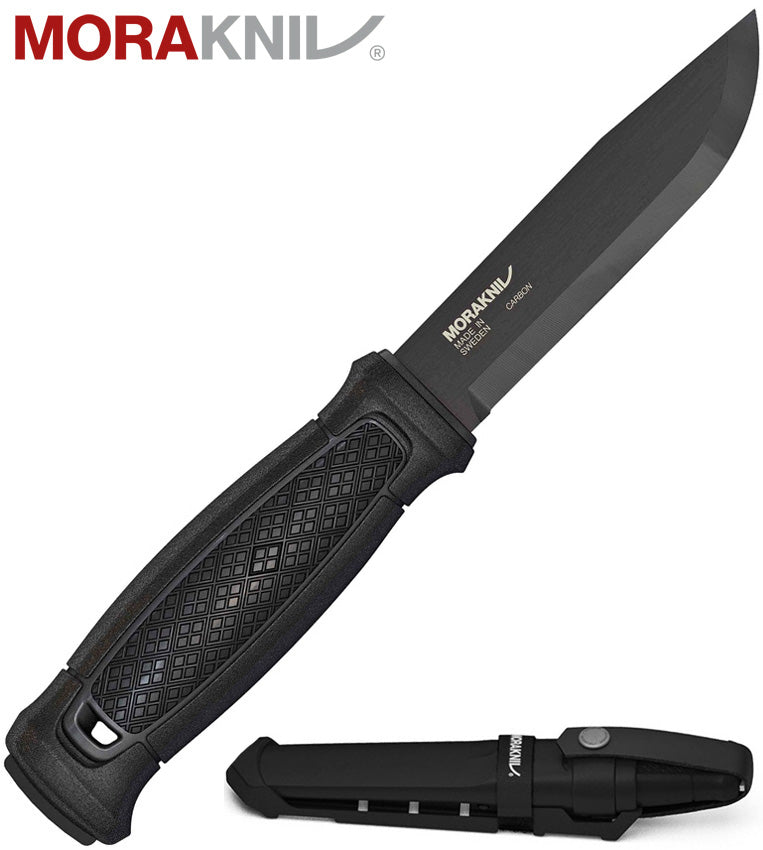 "Morakniv Garberg 4.3"" Black Carbon Steel Fixed Blade Knife with Multi-Mount MOLLE Sheath 13147"