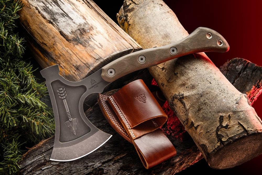 "TOPS Hammer Hawk 14.5"" Tomahawk Axe with Micarta Handle and Leather Sheath HAMH-01"