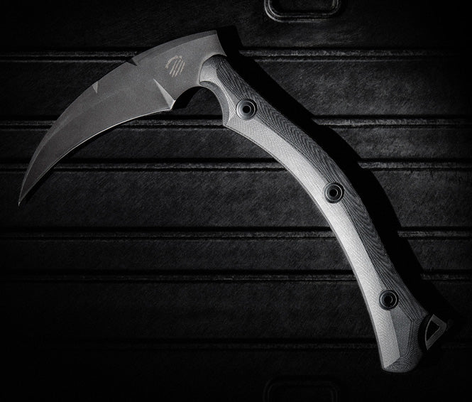 Bastinelli Creations Reaper TAC Cerakote N690Co G10 Tactical Scythe with Leather Sheath