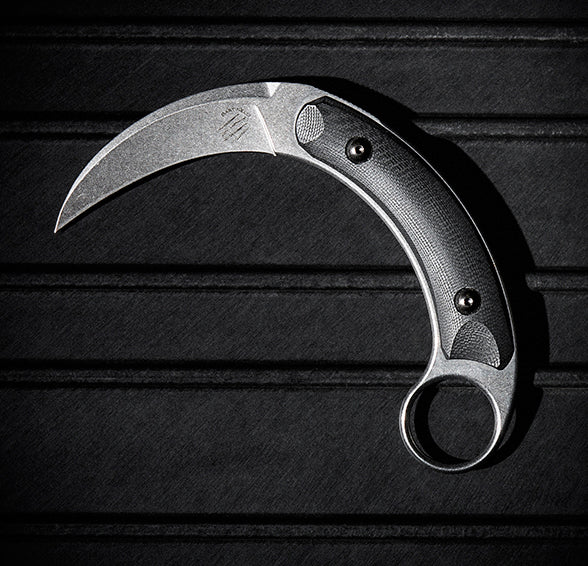 "Bastinelli Creations Kalinou 3"" Stonewash N690Co Karambit Knife with Kydex Sheath"