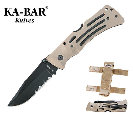 "KA-BAR Desert Mule 3.81"" AUS 8A ComboEdge Heavy Duty Folding Knife with Pouch"