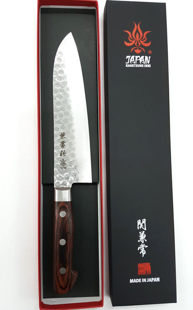 "Kanetsune Classic Santoku 7.28"" VG-10/Damascus San-Mai Mahogany Kitchen Knife - Made in Japan KC903"