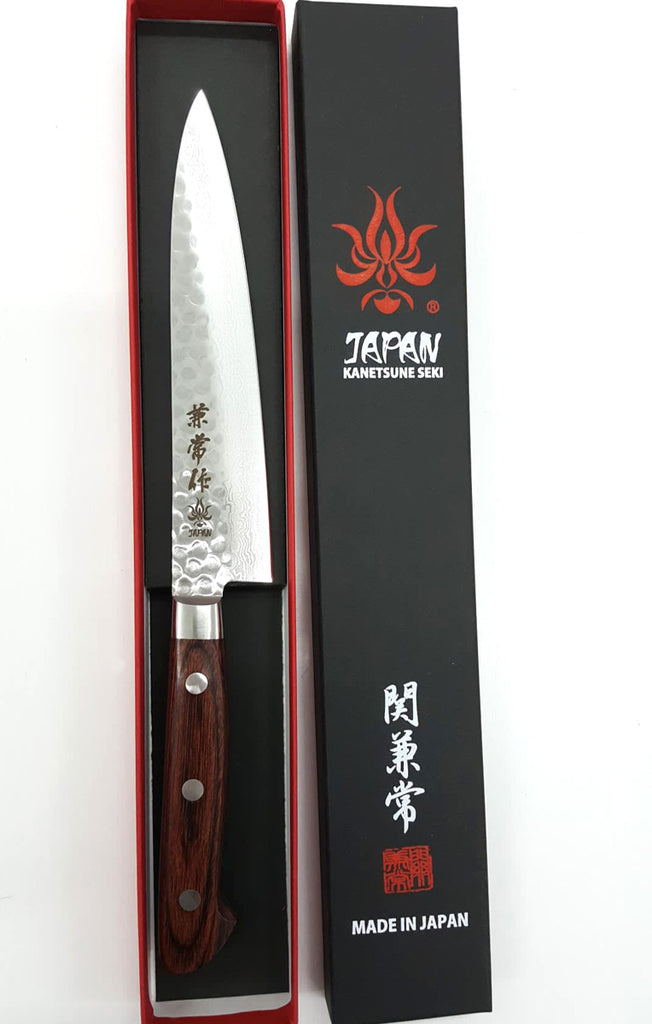 "Kanetsune Classic Petty 5.51"" VG-10/Damascus San-Mai Mahogany Kitchen Knife - Made in Japan KC-904"