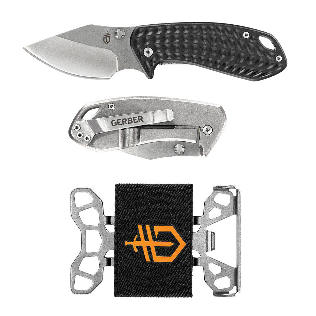"Gerber Kettlebell 2.5"" Folding Knife with Barbill Bottle-Opener Wallet"