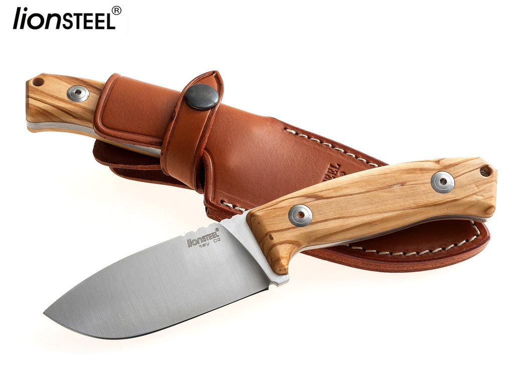 "LionSteel M2 3.54"" D2 Olive Wood Fixed Blade Knife with Leather Sheath"