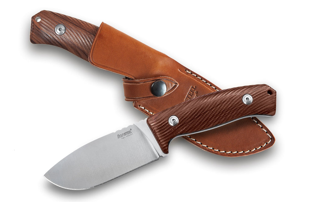 "LionSteel M3 4.13"" Niolox Santos Wood Fixed Blade Knife with Leather Sheath"