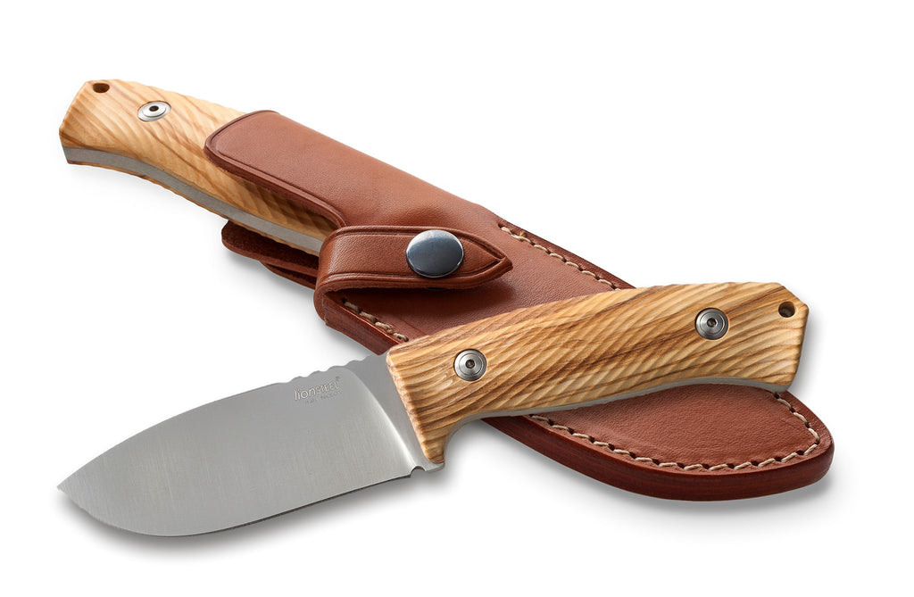 "LionSteel M3 4.13"" Niolox Olive Wood Fixed Blade Knife with Leather Sheath"