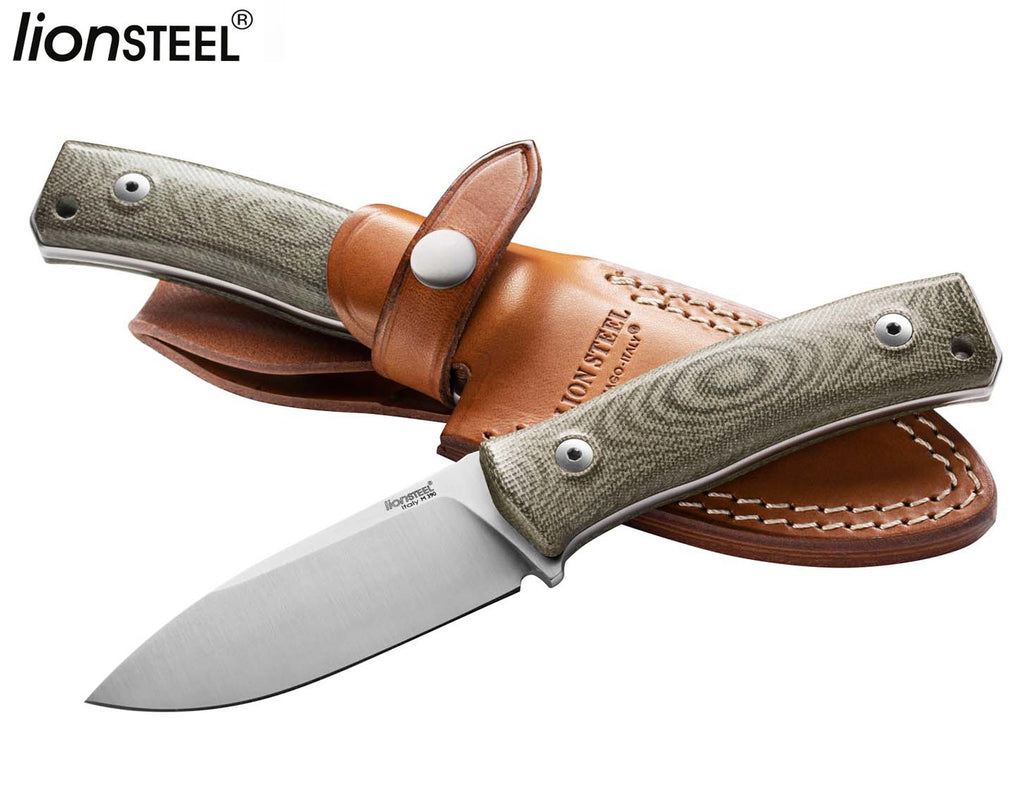 "LionSteel M4 3.74"" M390 Green Canvas Micarta Fixed Blade Knife with Leather Sheath"